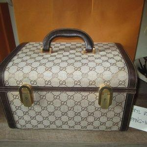 Vintage GG Monogram Case Makeup Vanity Beauty Bag.